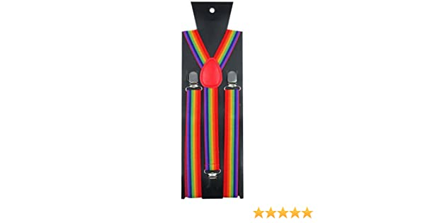 Adjustable Rainbow Slim Trouser Suspenders Braces Clip On Fancy Dress Gay Pride