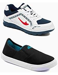 Asian Shoes Combo JUNIOR-11 White Navy Blue & THOMAS-11 Black Firozi Kids Sports & Canvas Shoes