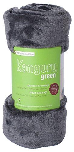 Coperta in morbido pile 100% riciclato. plaid in soffice e calda microfibra, ideale per regalo natale o per comodo relax sul divano, tv. kanguru plaid green grigio 130 x 170 cm