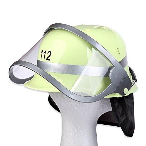 mit klappbarem Visir 112 Feuerwehr Helm Feuerwehrmann Feuerwehrausrüstung Kostüm Feuerwehrmann (Kostüm Feuerwehrmann)