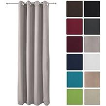 Beautissu Cortina térmica de ojales Amelie - 140x245 cm Gris Uni - Para ventanas opaca y aislante - Diversos colores