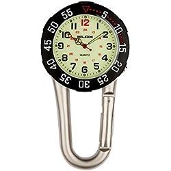 uWANTit Silver Clip On Rotating Dial Carabiner Metal Fob Watch Luminous Dial Paramedic Doctor Nurse Unisex Men Women