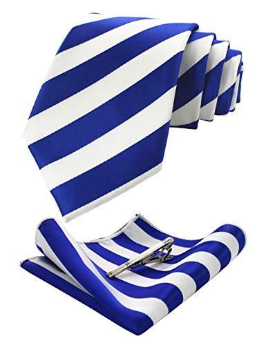 JEMYGINS Blau Krawatten und Einstecktuch Set für Herren seide Krawatte Diagonale Streifen Krawatte krawattenklammer Seidenkrawatten Hochzeit Schlips (3) - Blau Diagonale Streifen-krawatte