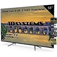 Televisor Led 58 Pulgadas Ultra HD 4K Smart, TD Systems K58DLX9US, resolución 3840 x 2160, HDR10, 3X HDMI, VGA, 2X USB, Smart TV.