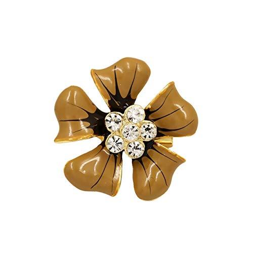 SHFives Emaille Blume Broschen Für Frauen Party Hochzeit Bankett Kristall Blume Broschen Geschenke Kleid Kleidung Schuhe Zubehör, Kaffee (Brown-frauen-kleid-schuhe)