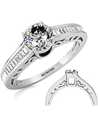Ring For Women With Certified Real Diamond Taper Baguette Diamonds Wt 0.24 Ct In Sterling Silver 925, Silver Taper...