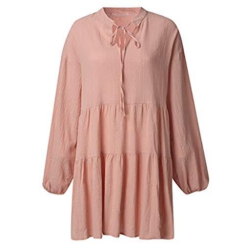 m Rüschen Strandkleid Tunika Lose T-Shirt Kleid Boho Strandkleid Langarm Tunika Kleid Lose Einfarbig Kleid Langarm V-Ausschnitt A-Linie Kurze Mini Kleider Swing Blusen Tunika ()