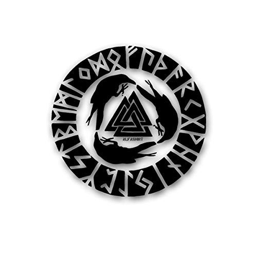 Odins Raben Wikinger Abzeichen Runen -Wandschmuck Wandtattoo Aufkleber (schwarz, 45cmx46cm) - Charlie Hebdo Frankreich