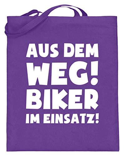 shirt-o-magic Motorradfahrer: Biker im Einsatz! - Jutebeutel (mit langen Henkeln) -38cm-42cm-Violett -