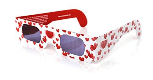 10 Stück LOLLIPOP® 3D - Herzbrillen \'Liebesrausch\', Pappbrille in weiß mit roten Herzchen
