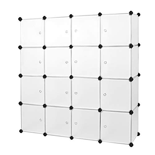 SONGMICS Armario Modular de Plástico PP, Estantería de almacenaje con 16 Cubos, 143 x 36 x 143 cm, Semitraslúcido Blanco LPC44B