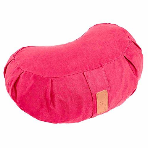 Coussin de yoga demi-lune »Ganesh« avec vannure d'épeautre biologique (culture biologique contrôlée) / Tailles: 45 x 30 x 14 cm - idéal comme coussin de yoga / coussin de méditation / coussin zafu / support de méditation / excellent confort d'assise / Matière : 100% coton - rose