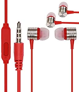 Metal Red Stylabs 3.5mm In Ear bud Stereo Earphones Mini Size HeadSet Headphone Handsfree with Mic For Micromax Canvas Blaze MT500