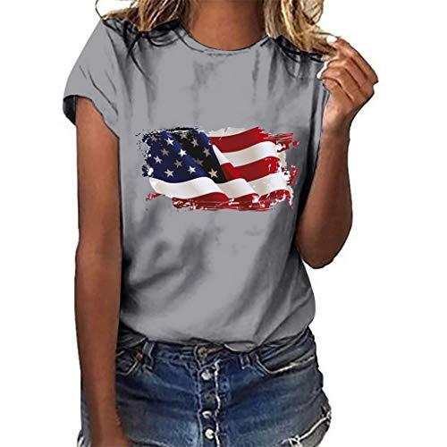 Oversize Shirt Oberteile für Damen,Dorical Frauen Sommer Rundhals T-Shirt Loose National Flagge Unabhängigkeit Tag Drucken Kurzarm Shirts Bluse Tops S-3XL Rabatt(Grau,Large)