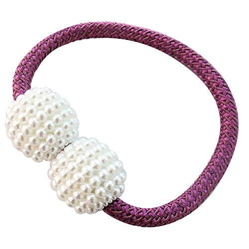 fiejns-zjy - Abrazadera magnética para Cortinas, diseño de Perlas de imitación, Color Rojo, Morado, Morado