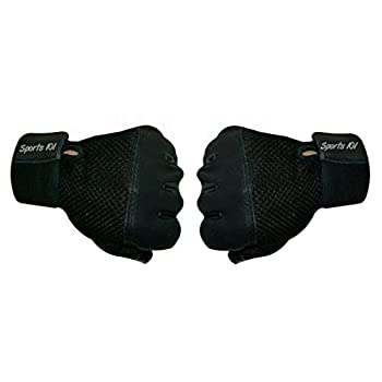 Sports 101 Pro Grip Leather Fitness Gloves With Wrist Support (Black)
