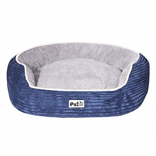 KDXBCAYKI Gestreifte Cord Zwinger Katzenstreu Pet House Couch Haustierbett für Hunde Top Haustierbett Abnehmbarer Bezug mit Memory Foam Haustiere Heimtierbedarf (Farbe : Blau, Size : S) -