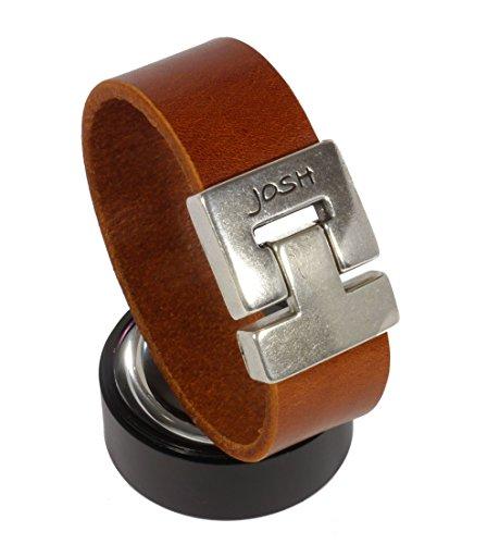 Josh TF breites Schlichtes Glattlederarmband in cognacfarben, Länge: 23 cm, Edelstahl