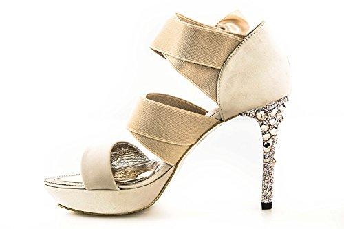 Scarpe donna decoltè WHY A. VENTURINI beige con fiocco open toe raso N39 X2758