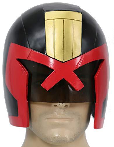 Judge Helm Kostüm Halloween Cosplay Erwachsene Rot Voller kopf Maske Abendkleid Film (Dredd Cosplay Kostüm)