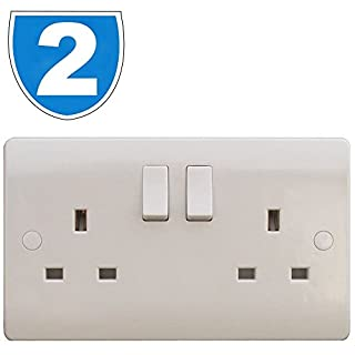 2x ESR White 2 Gang Twin 240V UK Switched Electric Wall Socket 13A 13amp Plug Beveled Double