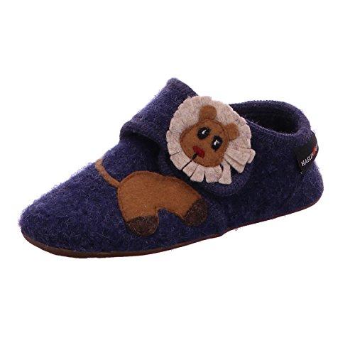Haflinger 483078 Everest Lion Kinder Hausschuhe Hüttenschuhe Wolle, Größe:34;Farbe:Blau