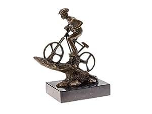 Statuette style trophée - cycliste sur vélo - bronze - 25 cm