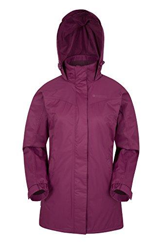Mountain warehouse guelder rivestimento di lunghezza di inverno delle donne di guelder - cappotto impermeabile della pioggia, cappotto chiuso con chiusura a lampo rosa 40