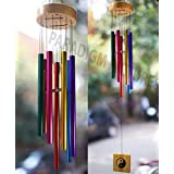 PARADIGM PICTURES Wood and Metal Colourful Wind Chimes for Positive Energy, Multi-coloured