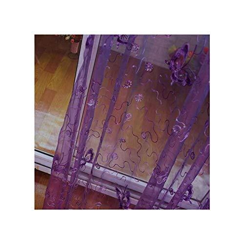 GYYbling Französisch Romantische Leuchtender Schmetterling gestickte Voile-Vorhang-Panel-Fenster