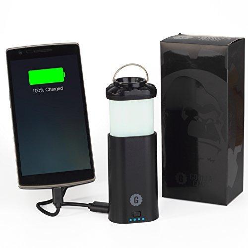Preisvergleich Produktbild Gorilla Gear Powerlight–Camping Laterne/Taschenlampe mit 6600mAh Powerbank–inklusive Micro-USB-Kabel + Bedienungsanleitung–Schwarz, 2Jahre Garantie
