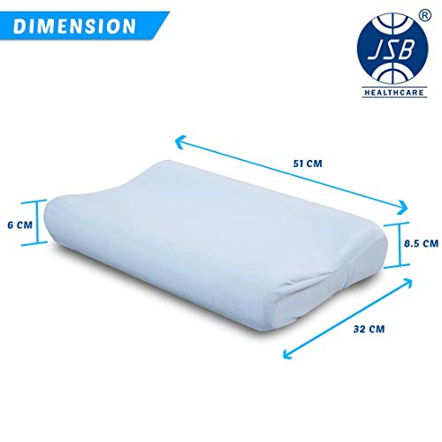 """JSB MF005 Contoured Orthopedic Memory Foam Pillow with Gel Cooling for Sleeping Comfort (21"""" X 13"""" X 4"""")"""