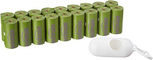 AmazonBasics - Sacchetti igienici per cani, versione migliorata, con dispenser e clip per attacco al guinzaglio, confezione da 270 pezzi, aroma: lavanda