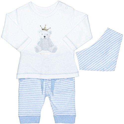 Unisex Baby 3-teiliges Geschenkset   Langarm-Shirt Hose Halstuch   White Blue Größe 56 für Jungen und Mädchen