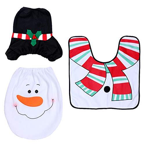 Amasawa pupazzo di neve toilet coprisedile tappeto tissue box cover set decorazione natalizia per bagno toilette