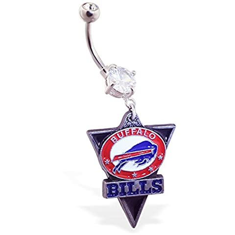 MsPiercing Mspiercing Belly Ring With Official Licensed NFL Charm, Buffalo Bills