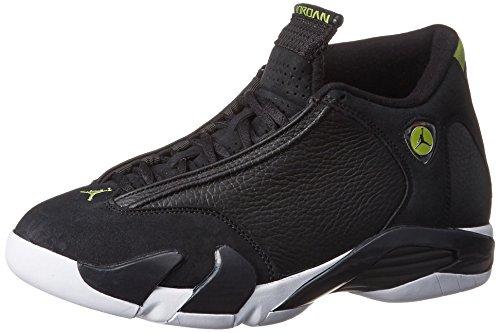 Nike Herren Air Jordan 14 Retro Basketballschuhe, Black (Schwarz/Schwarz-Weiß-Leuchtend Grünen), 44.5 EU (Jordan Air 14 Air)