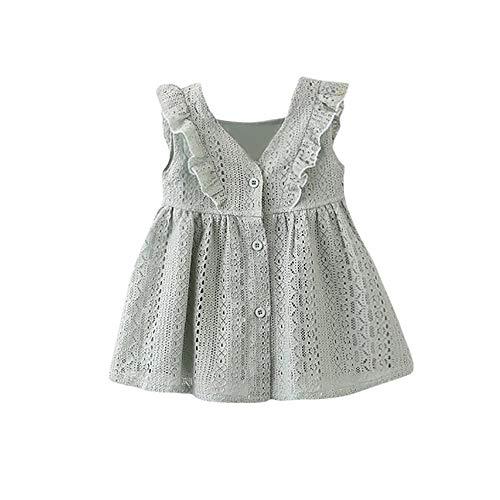 (KIMODO Kleinkind Baby Mädchen Kleid Spitze Rüschen Kleider Ärmellos Taste Hohl Prinzessin Sommerkleid Urlaub Outfit Kleidung)