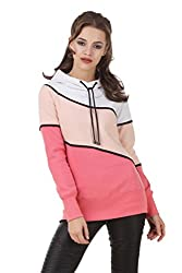 Texco White & Peach color block lace embelished winter sweatshirt