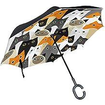 hengpai - Paraguas invertido de Color para Gato con Hueso de pez invertido en el Interior y Exterior, Resistente al Viento, a Prueba de Rayos UV, ...