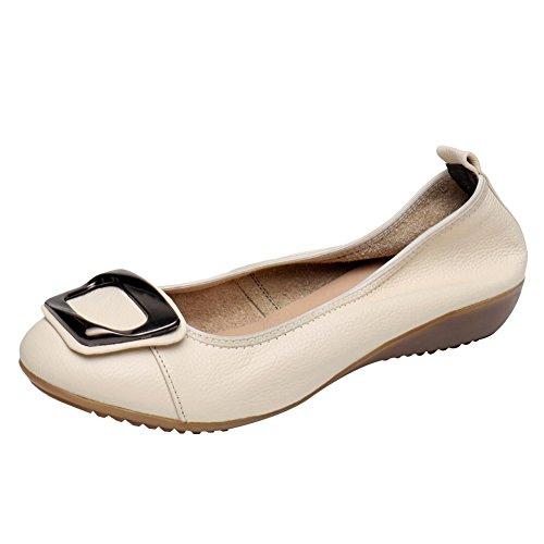 Jamron Mujer Piel Genuina Comodidad Zapatos Suela Blanda Bailarinas Talón de Cuña Baja Pantuflas Beige...