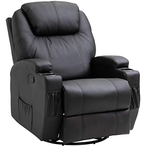 Homcom Fauteuil de Massage Relaxation électrique Chauffant inclinable pivotant 360° avec Repose-Pied...
