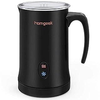 Mousseur à lait Homgeek,Mousseur lait éléctrique en Acier,Multi-fonctionne,Thermostat Srix avec Revetement Antiadhesif, 300ml Grande capacité, Milk frother pour café,café au lait,Cappuccino