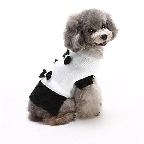 Uni Meilleur de Noël pour chien Maille côtelée en tricot pour tête de mort Dot Bowknot Manteau chaud Kintted Doggie Halloween Capuche