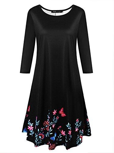 Damen Flowy Tops,Anna Smith Damen gebogene Hals Design 3 4 Ärmel überbackene Hem Dressy Shirts gedruckt Muster Comfort Fitting Bekleidung Casual Daily Wear stricken Pullover Plain Black XXL (Stricken Gedruckt Pullover)