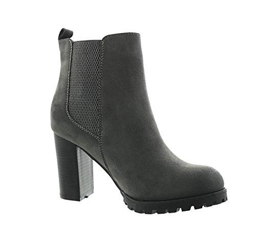 Damen Stiefeletten Ankle Boots Plateau Stiefel Schuhe 7 Grau