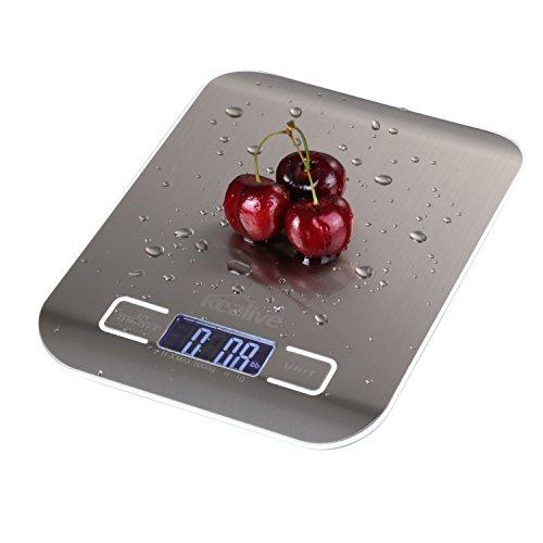 Küchenwaage Kealive Digital-Küche-Skala 5000g / 11lb Multifunktions-Edelstahl-Nahrungsmittelskala mit LCD-Anzeige für Haupttäglicher Gebrauch (2 AAA-Batterien eingeschlossen)