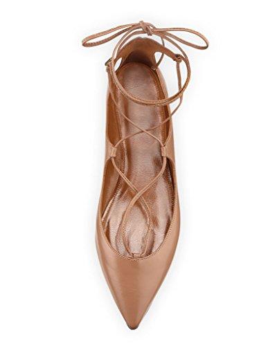 EDEFS Femmes Artisan Fashion Ballerines Décontracté Pointus Lanières Croisées Cheville En Lacets Des Couleurs Des Couleurs Chaussures Plates Gris Brillant Nude