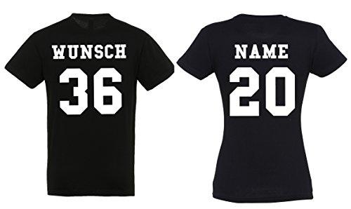 2 Partner Look Shirts mit Wunschname und Wunschzahlen auf Rücken für Pärchen als Geschenk - (Schwarz)