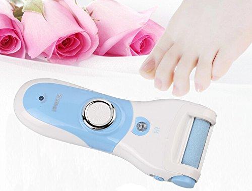 Rasoirs Pédicure Râpe électrique rechargeable pour enlever peau morte talons corne au pied Râpe Anti-Callosités 4 rouleaux ponceurs inclus